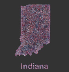 Indiana line art map vector