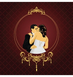 Elegant wedding frame vector
