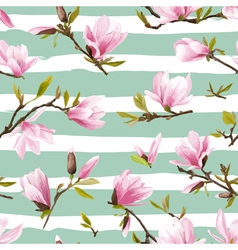 Seamless Floral Pattern Magnolia Flowers vector image