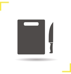 Cutting board with knife icon vector image