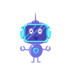 Smiling robot with dark screen vector