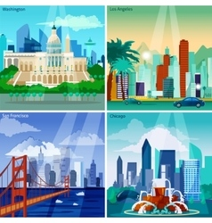 American cityscapes concept icons set vector