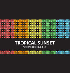 abstract pattern set tropical sunset seamless vector image vector image