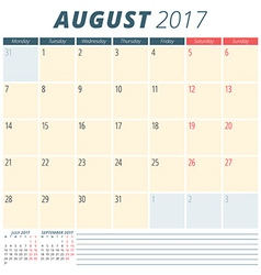 August 2017 Calendar Planner for 2017 Year Week vector image vector image