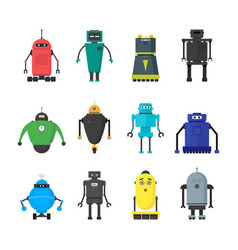cartoon cute toy robots color icons set vector image