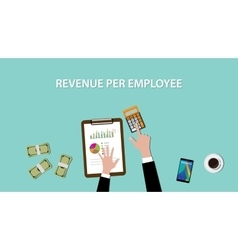 Counting revenue per employee with paperwork and vector