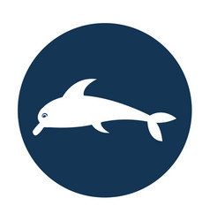 Cute dolphin silhouette icon vector