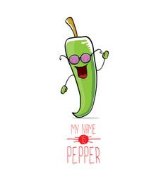 funny cartoon green pepper character vector image vector image