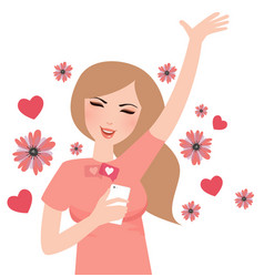 Girl happy get likes from social media mobile vector