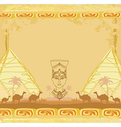 grunge background with Egyptian queen vector image