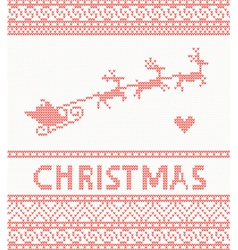 Knitted pattern with santa claus and deer vector