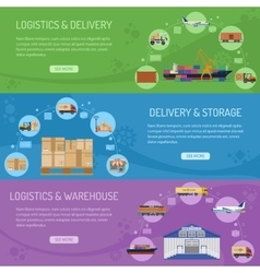 Logistics delivery and storage banners vector