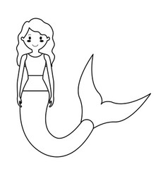 mermaid with curly long hair vector image