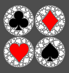 Mosaic circle of poker playing card suit with main vector