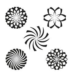Set of elements for design-spiral flowers vector image vector image