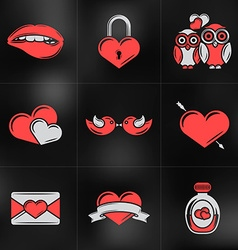 Set of St Valentines Day Design Elements Love vector image vector image