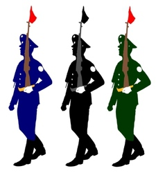 Silhouette soldiers during a military parade vector image vector image