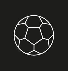 soccer ball icon on black background vector image vector image