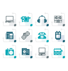 stylized electronics media technical equipment vector image vector image