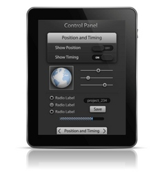 Tablet pc with ui elements vector