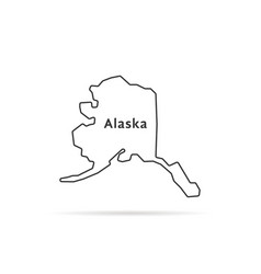 thin line alaska map with shadow vector image vector image