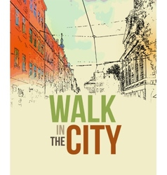 Walking in the city Poster template vector image