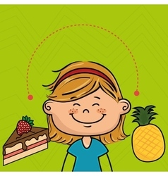 Girl fruit cake dessert vector