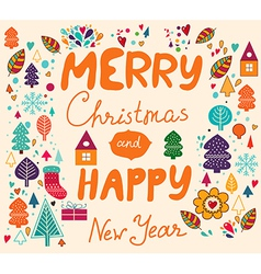 Merry xmas happy new year vector