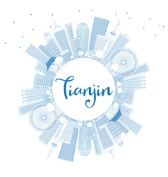 Outline tianjin skyline with blue buildings vector