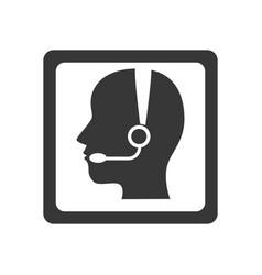 Monochrome square button with call center operator vector