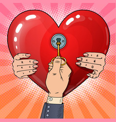 Mens hand with key from womans heart pop art vector