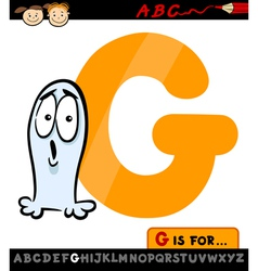 Letter g with ghost cartoon vector