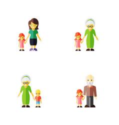 flat icon people set of grandma grandpa daugther vector image
