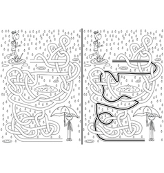 Rainy day maze vector