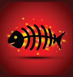 A dead fish on red background vector