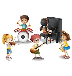 A group of talented kids vector image vector image