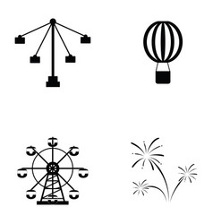 Amusement park icon set vector