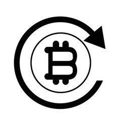 Bitcoin sign currency with round arrow vector