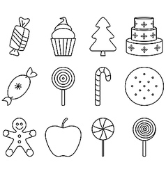 Black and white christmas sweets vector
