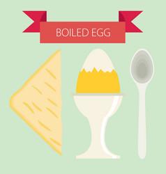 breakfast soft boiled eggs simple flat design vector image vector image