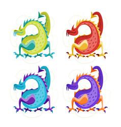 cartoon color fantasy animal dragon set vector image