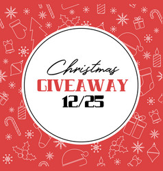 Christmas giveaway card on red background vector