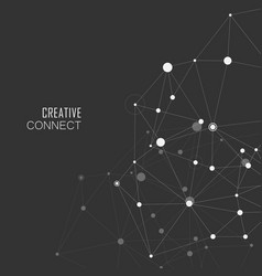 connection white dots and lines science background vector image