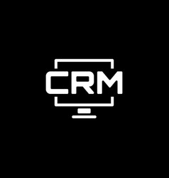 desktop crm system icon flat design vector image