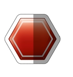 dotted sticker hexagon of road sign red vector image