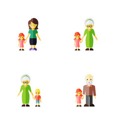 flat icon people set of grandma grandpa daugther vector image vector image