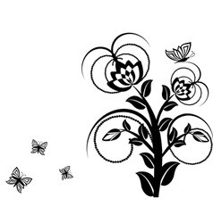 floral ornament with butterflies vector image