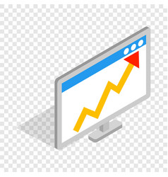 Graph on the computer monitor isometric icon vector