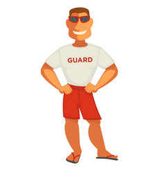 Guardian man in white t-shirt and shorts smiling vector