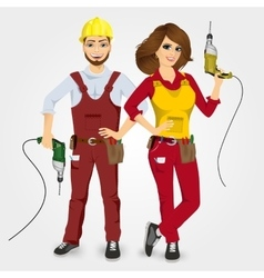 handyman and handywoman holding drills vector image vector image